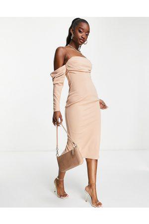 ASOS Bardot drape pencil midi dress in mink-Neutral