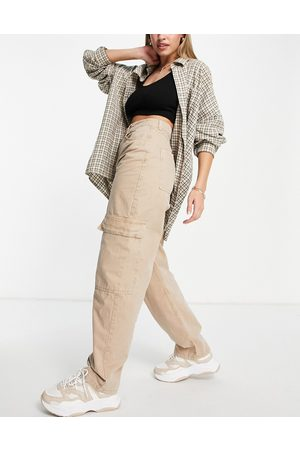 ASOS High rise 'super slouchy' combat trouser in tan-Neutral