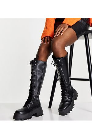 ASOS Wide Fit Carter chunky lace up knee boots in black