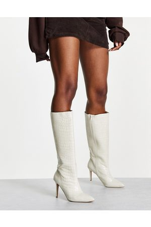 ASOS Claudia knee high boots in off-white croc