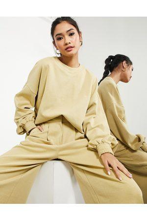ASOS Longline top in textured jersey in camel-Neutral