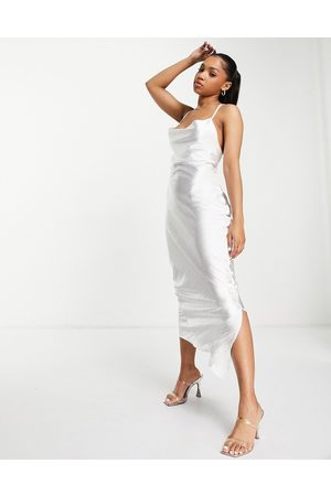 ASOS Cami maxi slip dress in high shine satin with lace up back in ivory-White
