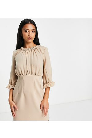 ASOS ASOS DESIGN Petite mixed fabric mini dress with frill sleeves in stone-Neutral