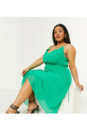ASOS ASOS DESIGN Curve pleated cami midi dress with drawstring waist in emerald green