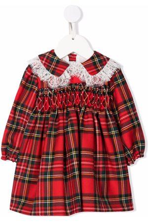 LA STUPENDERIA Tartan-print lace-trim dress