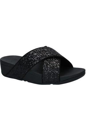 FitFlop Dames Slippers - Lulu Glitter Zwarte Slippers