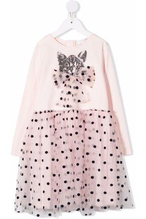 Charabia Meisjes Casual jurken - Cat-print mesh dress